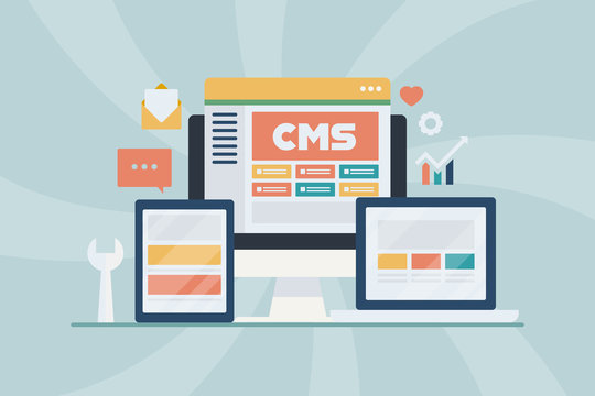 Cms - content management system, blogging, website management software, internet technology concept. Flat design banner for web, blog, app, presentation, infographic, template.