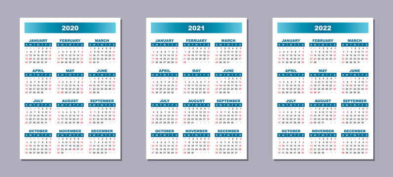 Set of 3 calendar templates, English language, Sunday first. 2020, 2021, 2022 year vector gradient