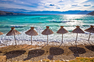 Photo sur Plexiglas Cappuccino Idyllic turquoise beach in Baska view, Island of Krk