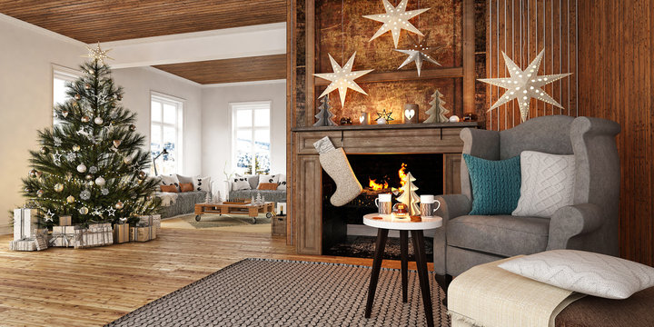 New year tree in scandinavian style interior with christmas decoration and fireplace