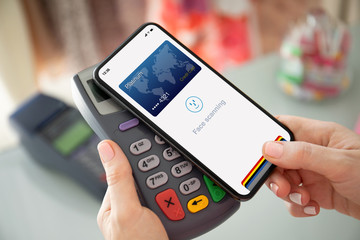 phone face scanning id payment purchase on paypass online terminal