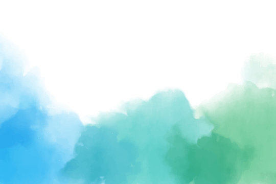 blue and green watercolor splash in cool tone
