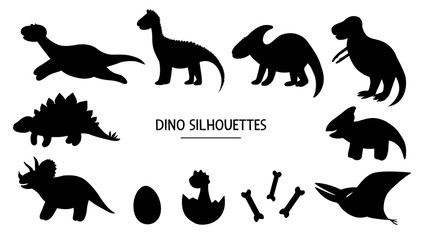 Vector set of dino silhouettes. Black and white illustration of dinosaurs. Funny cute prehistoric themed stencils..