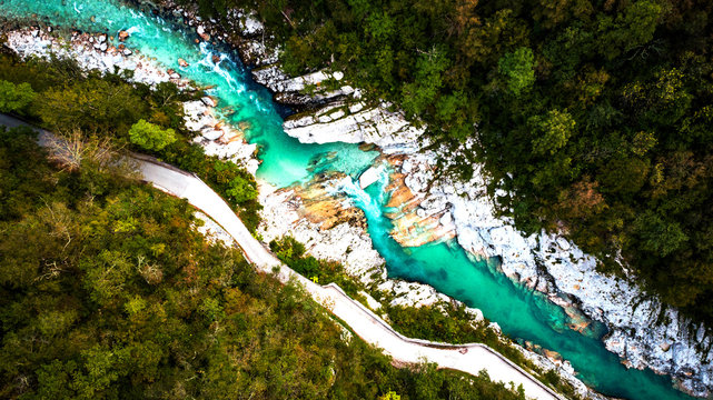 Emerald Soca River in Soca Valley, Slovenia. Aerial Drone Top Down view