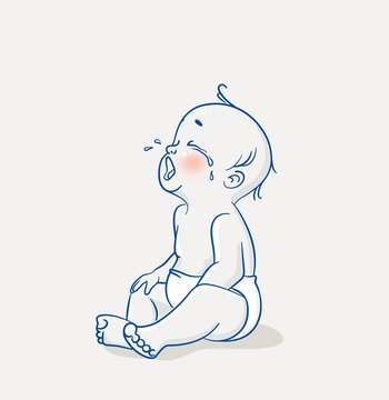 Cute little baby sitting on floor and crying. Vector cartoon illustration