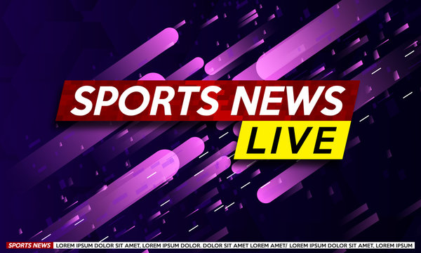 Background screen saver on sports  breaking news. Breaking sports news live on the modern pink background. Vector illustration.