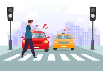Crosswalk accident. Pedestrian with smartphone and headphones crossing road on red traffic lights, road safety. Car vehicle accident danger, street traffic rules vector illustration