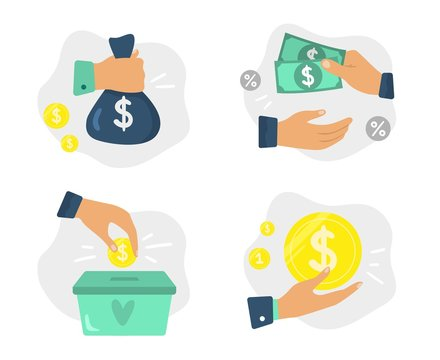 Money in hands. Finance investments, donate foundation and financial savings. Coins donations, corruption metaphor or buying deal payment. Isolated vector illustration icons set