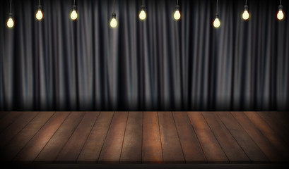 wooden stage with curtain and lamp light.