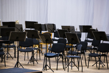 The stage is ready for the orchestra