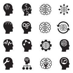Mindset Icons. Black Flat Design. Vector Illustration.