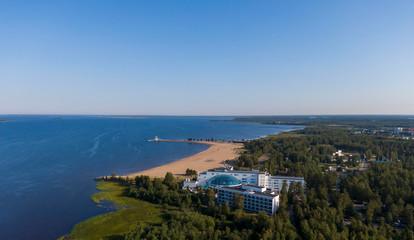 Aerial view of Nallikari Beach in the Oulu city in Finland