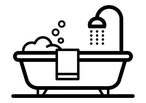 gz546 GrafikZeichnung - german - Piktogramm, Badezimmerinterieur / freistehende Badewanne: english - pictogram, bathroom interior / freestanding bathtub icon - simple template - DIN A4 - g8651