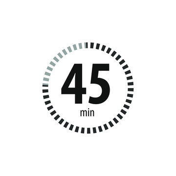 45 minutes stopwatch symbol. Timer sign icon. Isolated vector illustration.