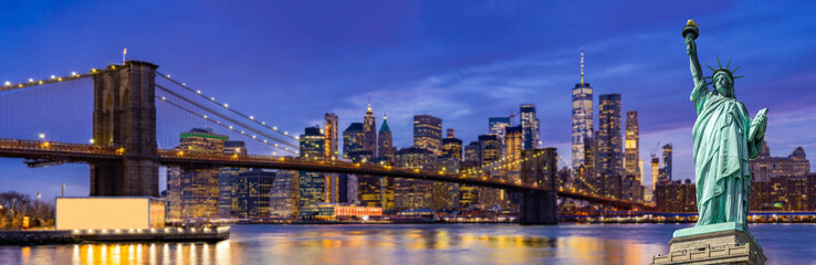 Printed roller blinds Dark blue Brooklyn bridge New York