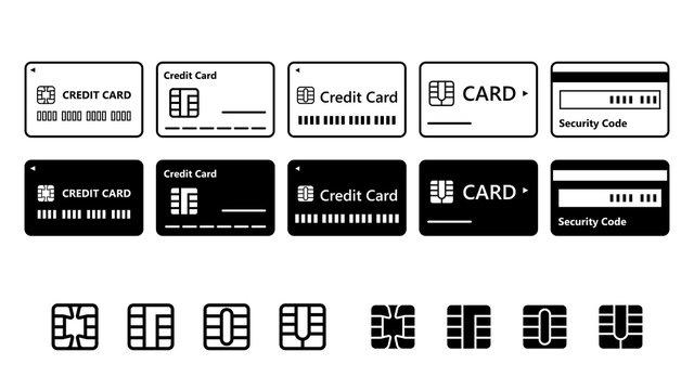 カード、クレカ、クレジットカードアイコンセット白黒