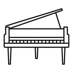 Grand piano icon. Outline grand piano vector icon for web design isolated on white background