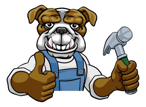 A bulldog cartoon animal mascot carpenter or handyman builder construction maintenance contractor peeking around a sign holding a hammer and giving a thumbs up