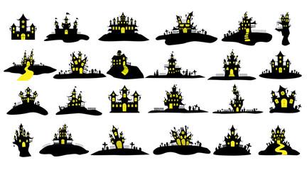 Halloween castle or house icon set