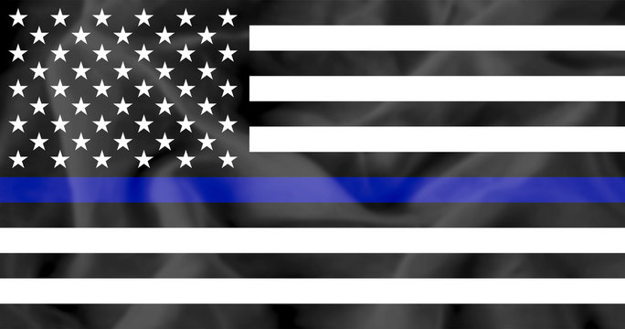 American flag with police support symbol, Thin blue line.