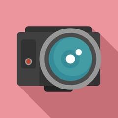 Fish eye action camera icon. Flat illustration of fish eye action camera vector icon for web design