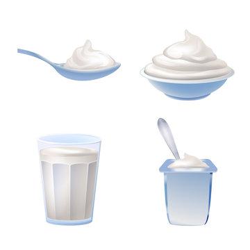 Yogurt icons set. Cartoon set of yogurt vector icons for web design