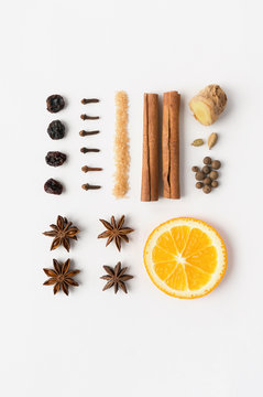 Isolated mulled wine ingredients set. Traditional winter warm drink. Flat lay.