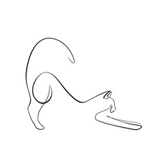 Foto auf AluDibond One Line Art Abstract, minimalistic, line art stretching cat figure. Hand drawn, one line, printable, wall art illustration.