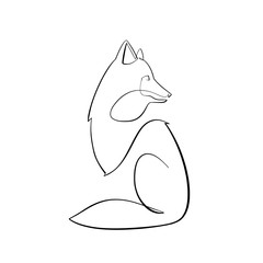 Foto auf AluDibond One Line Art Abstract, minimalistic, line art fox figure. Hand drawn, one line, printable, wall art illustration.