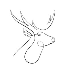 Foto auf AluDibond One Line Art Abstract, minimalistic, line art reindeer head figure. Hand drawn, one line, printable, wall art illustration.