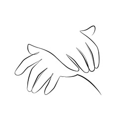 Foto auf AluDibond One Line Art Abstract, minimalistic, line art human hands figure. Hand drawn, one line, printable, wall art illustration.