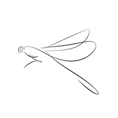 Foto auf AluDibond One Line Art Abstract, minimalistic, line art praying mantis figure. Hand drawn, one line, printable, wall art illustration.