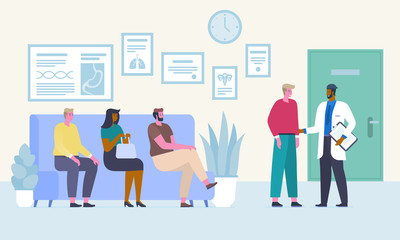 People in waiting room flat vector illustration