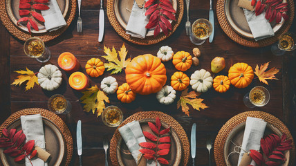 Thanksgiving celebration traditional dinner table setting