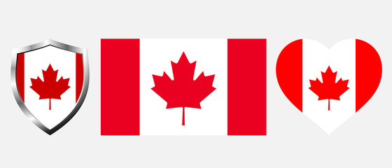 Set of Canada flag on isolated background vector illustration