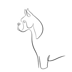 Foto auf AluDibond One Line Art Abstract, minimalistic, line art British boxer dog figure. Hand drawn, one line, printable, wall art illustration.