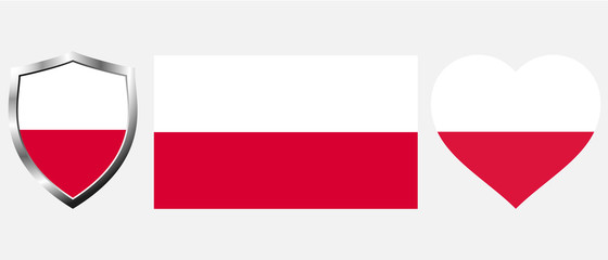 Set of Poland flag on isolated background vector illustration
