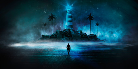 Fotomurales - Abstract, futuristic background, lighthouse on the mountain. Night sea view, water reflection of light. Illuminations. Dark seascape, abstract scene, neon rays, palm trees.