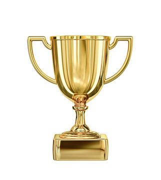 Golden champion cup isolated on white. Clipping path included