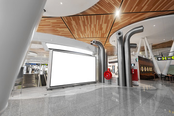 2019-05-15, Marrakech, Morocco. modern airport terminal departure lounge with big billboard
