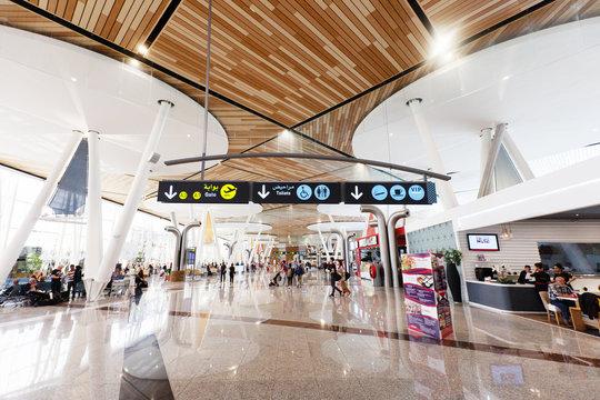2019-05-15, Marrakech, Morocco. modern airport terminal departure lounge