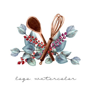 Logo for cake shop and bakery, kitchen with floral elements and red berries, eucalyptus leaves and cooks. Watercolor illustration.