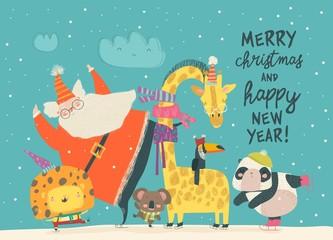 Santa Claus skating with lion, giraffe,panda and koala