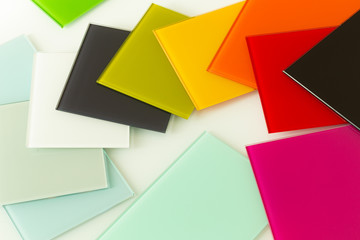colored pieces of decorative glass for the kitchen and interior of homes and offices
