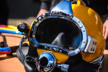 Yellow diving helmet, for deep sea diving