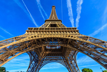 Wall Mural - Paris Eiffel Tower in Paris, France. Eiffel Tower is one of the most iconic landmarks in Paris. Architecture and landmarks of Paris.