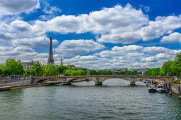 Wall Mural - View of Eiffel tower and Seine river in Paris, France
