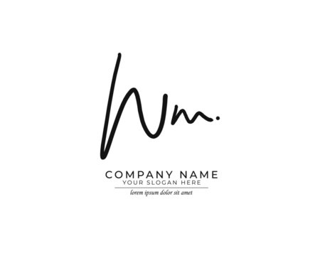 W M WM Initial handwriting logo design. Beautyful design handwritten logo for fashion, team, wedding, luxury logo.