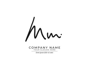 M MM Initial handwriting logo design. Beautyful design handwritten logo for fashion, team, wedding, luxury logo.