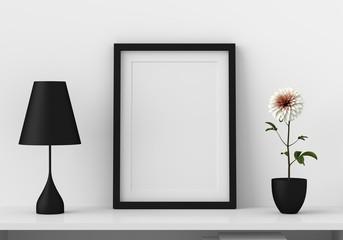 Mockup blank photo frame in modern living room, 3D render, 3D illustration